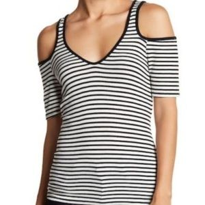 Harlow and Graham Striped Cold Shoulder Top